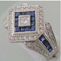 【26】K18サファイヤダイヤリング(指輪)中古品