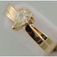 【A36】K18イエローゴールドティアドロップダイヤリング(指輪)中古品