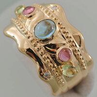 【A46】K18イエローゴールドメレダイヤ、カラーストーン入りデザインリング(指輪)中古品