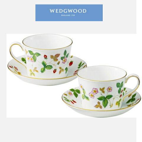 ウェッジウッド(ワイルドストロベリー)ティーカップ&ソーサーペア「ピオニー」 出産内祝・結婚内祝・・お礼