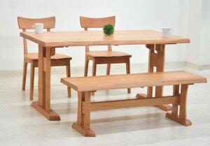 ダイニングテーブルセット ベンチ 4点 北欧 幅 140cm hida-351 ナチュラル 椅子2脚+ベンチ ダイニングテーブル 4点セット ダイニングセット 4人用 4人掛け 木製 天然木 アッシュ材 板座チェア