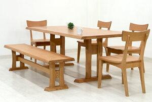ダイニングテーブルセット 6人掛け ベンチ 6点 北欧 幅 190cm hida-351 ナチュラル 椅子4脚+ベンチ ダイニングテーブル 6点セット ダイニングセット 6人用 7人用 木製 天然木 アッシュ材 板座チェ