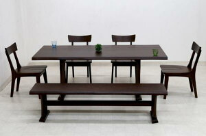 ダイニングテーブルセット 6人掛け ベンチ 6点 北欧 幅 190cm hida-351 ブラウン 椅子4脚+ベンチ ダイニングテーブル 6点セット ダイニングセット 6人用 7人用 木製 天然木 アッシュ材 板座チェア