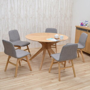 ダイニングテーブルセット 丸テーブル バースト 5人掛け 幅110cm 6点セット クロス脚 sbkt110-6-pani339ok ナチュラルオーク色/NA-OAK LGE色 光線張り ダイニングセット 5人用 円形 丸型 円卓 ラウンド