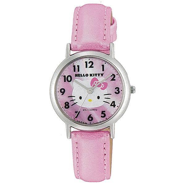 ハローキティグッズ腕時計ウォッチキティ0017N001ピンク革ベルトバントサンリオキャラクターかわいい日本製時計レディースキッズ