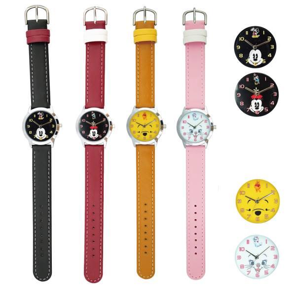 ディズニー皮ベルト腕時計フェイスアートウォッチMK8キッズレディスウォッチポスト投函ミッキーミニープーマリーキャラクターかわいい
