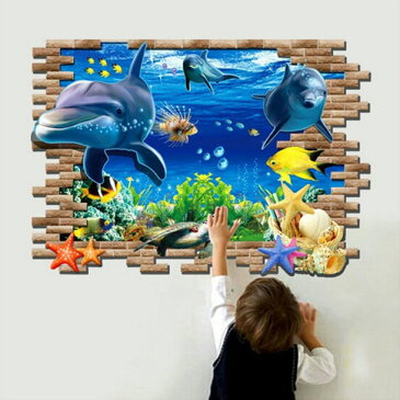 ウォールステッカー3D イルカ ウアニマル ウォールステッカー 動物 ステッカー イルカ シール 子供部屋 壁紙 風景 窓 海 癒し系 魚 亀 ウミガメ サンゴ礁 フィッシュ 波 ウオールステッカー 3D トリックアート 鮫 水族館 水槽 知育