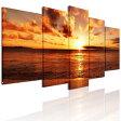 半額セール・送料無料インテリア絵画アートパネル 海 風景画 壁飾り おしゃれ  モダン海辺の夕日 アートパネル 5枚パネル 完成品 直接に取り付けます。
