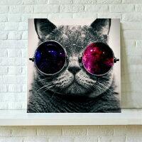 送料無料・あす楽対応アートパネル・ファブリックパネル絵画サングラスなめ猫アートフレーム付き壁掛け芸術品パネル壁飾り50cm×50cm