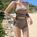 ビキニ 海用 おしゃれ かわいい 韓国ファッション 大人かわいい プール アウトドア ビーチ リボン 大人 セクシー 無地 ワンカラー 体型カバー 水着 温泉着 スイムウェア トップス