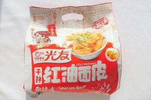 四川光友 干拌 紅油面皮 (酸辣味) 汁なしまぜ麺 (サンラー味) 中国産 100g x4食 袋麺