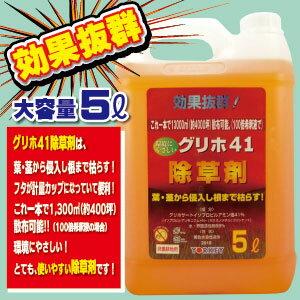 ヨーキ産業 除草剤 グリホ41 液剤5L徳用サイズ5L