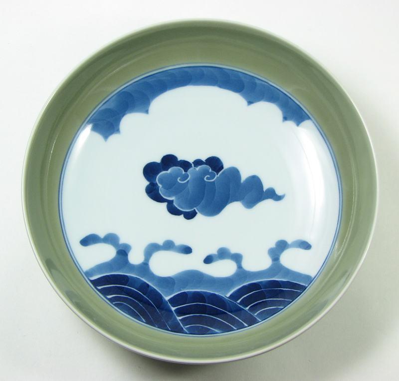 源右衛門窯 青磁雲波紋鉢(丸)