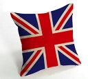 楽天メール便送料無料 DZ-0204 イギリス 国旗  綿麻 クッションカバー 花柄45cm×45cm 結婚祝い 新築祝いクッションカバー