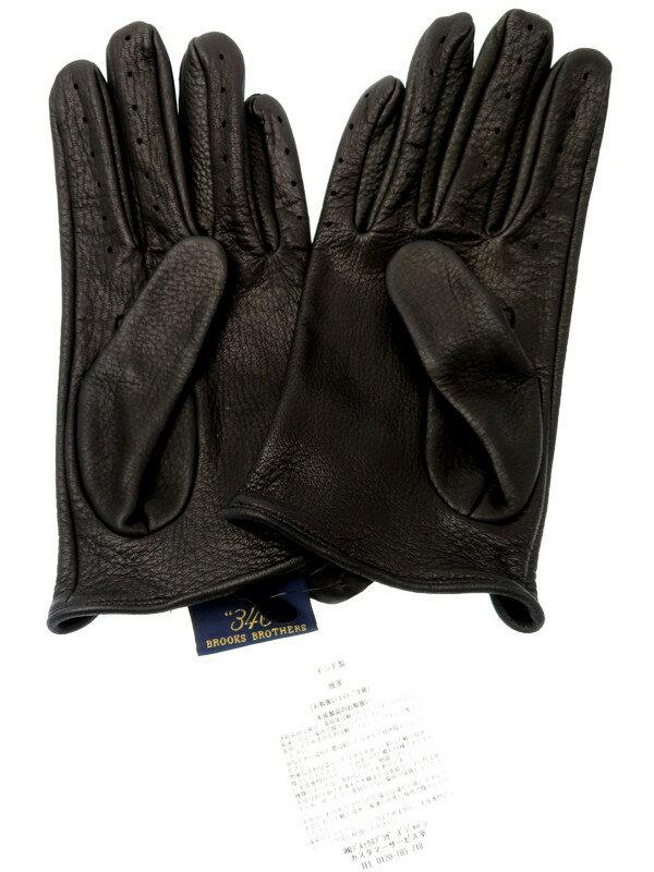 【BROOKS BROTHERS】【穴あき】ブルックスブラザーズ『レザーグローブ sizeL』メンズ 革手袋 1週間保証【中古】