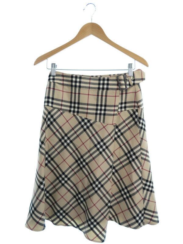 【BURBERRY LONDON】【ボトムス】バーバリーロンドン『チェック柄 巻きスカート size38』レディース 1週間保証【中古】