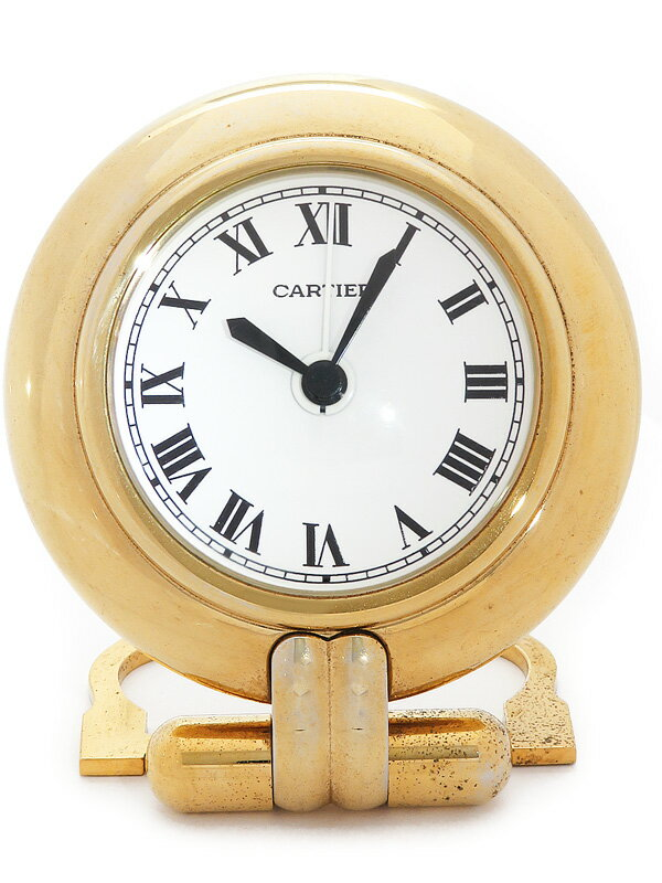 【Cartier】【置時計】【アラーム付】【電池交換済】カルティエ『マストコリゼ トラベルクロック』クォーツ 1週間保証【中古】
