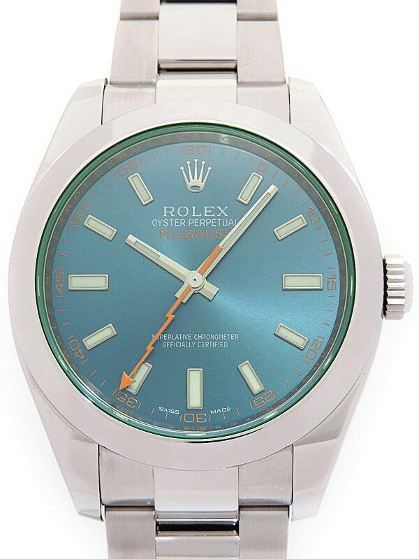 【ROLEX】【'16年購入】ロレックス『ミルガウス グリーンガラス』116400GV ランダム番 メンズ 自動巻き 12ヶ月保証【中古】