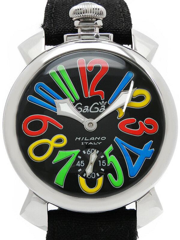 【GaGa MILANO】【裏スケ】ガガミラノ『マヌアーレ 48mm』5010.2 メンズ 手巻き 1週間保証【中古】