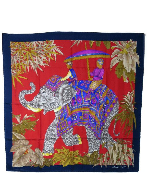 【Salvatore Ferragamo】フェラガモ『象柄シルクスカーフ』レディース 1週間保証【中古】