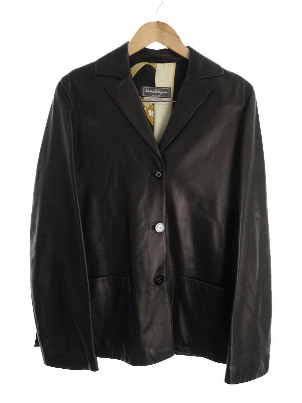 【Salvatore Ferragamo】【アウター】フェラガモ『レザージャケット size42』r.n 136180843 レディース テーラードジャケット 1週間保証【中古】