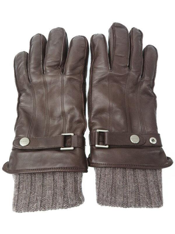 【COACH】【レザー×ニット】コーチ『レザーグローブ sizeL』メンズ 手袋 1週間保証【中古】