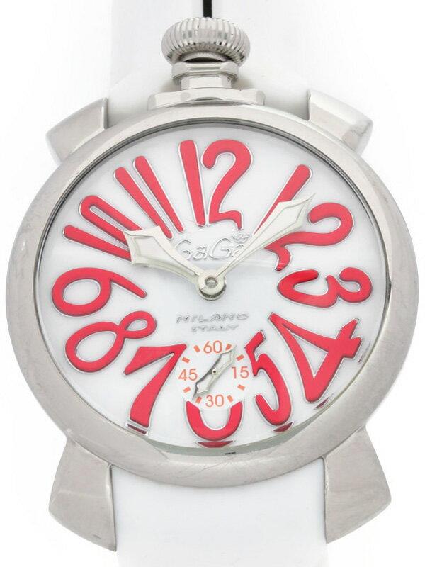 【GaGa MILANO】【裏スケ】ガガミラノ『マヌアーレ 48mm』5010.14 メンズ 手巻き 1週間保証【中古】