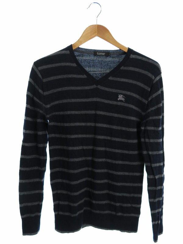 【BURBERRY BLACK LABEL】【トップス】バーバリーブラックレーベル『ボーダー柄 Vネック長袖ニット size2』メンズ セーター 1週間保証【中古】