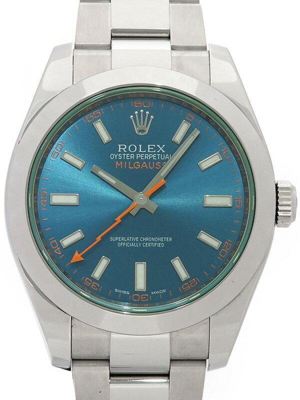 【ROLEX】【'17年購入】ロレックス『ミルガウス グリーンガラス』116400GV ランダム番 メンズ 自動巻き 12ヶ月保証【中古】