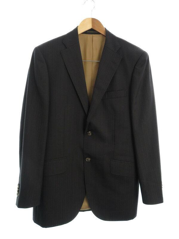 【GINZA YAMAGATAYA】【上下セット】【ベスト付】ギンザヤマガタヤ『3ピースストライプ柄スーツ』メンズ セットアップ 1週間保証【中古】