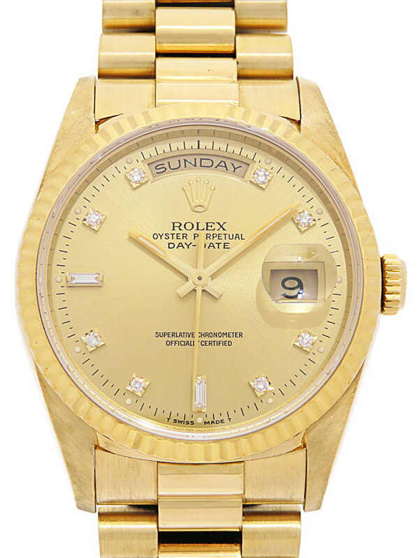 【ROLEX】【OH済】ロレックス『デイデイト 10Pダイヤ』18238A X番'91年頃製 メンズ 自動巻き 12ヶ月保証【中古】