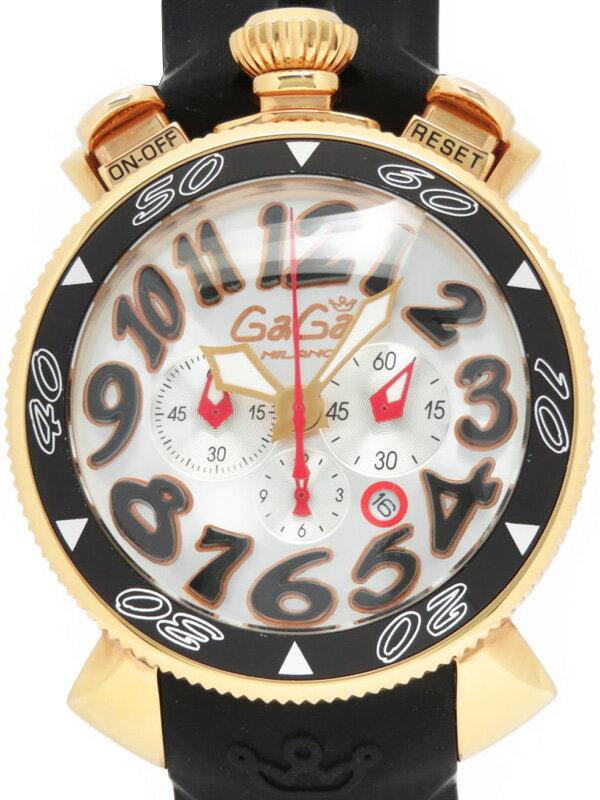 【GaGa MILANO】【電池交換済】ガガミラノ『マヌアーレ クロノグラフ 48mm』6056.6 メンズ クォーツ 1ヶ月保証【中古】