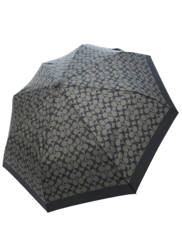 【COACH】【雨傘】コーチ『シグネチャー 折り畳み傘』ユニセックス アンブレラ 1週間保証【中古】
