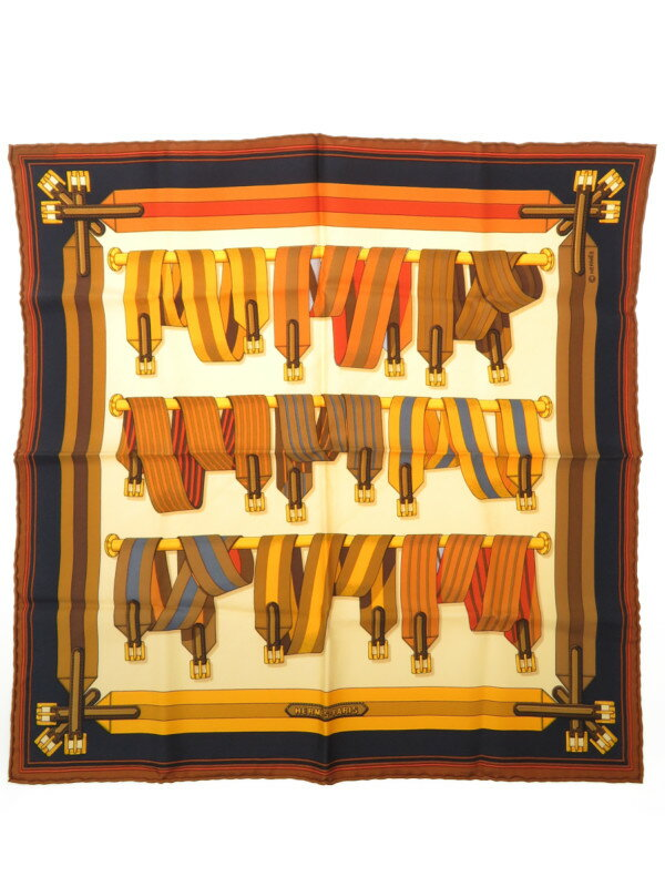 【HERMES】エルメス『ポケットチーフカレ45 ベルト柄』レディース スカーフ 1週間保証【中古】