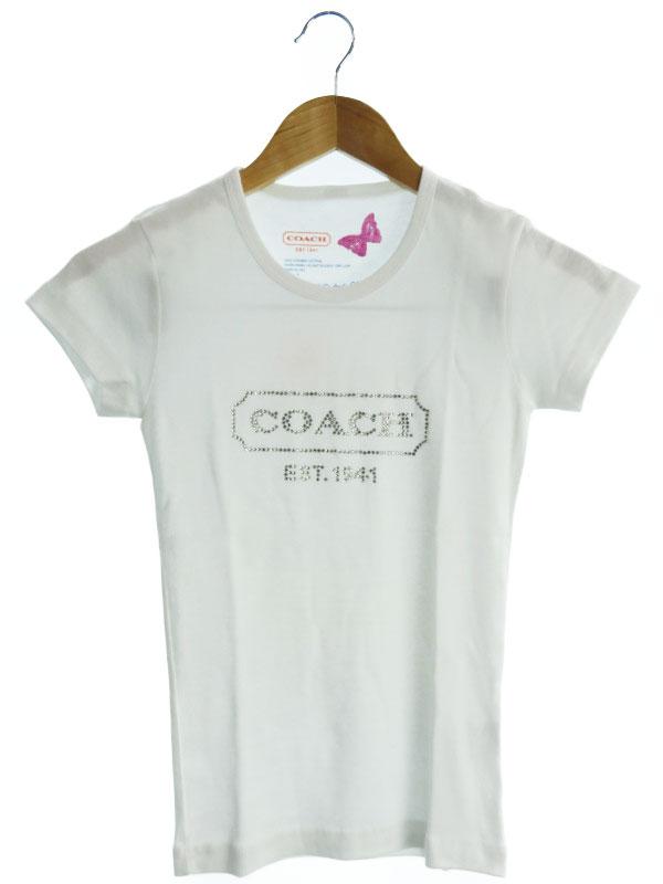 【COACH】【トップス】コーチ『ラインストーン付 半袖Tシャツ sizeS』レディース 1週間保証【中古】