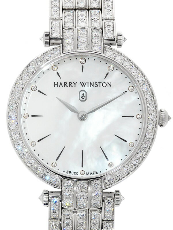 【HARRY WINSTON】【WG】【電池交換・仕上済】ハリーウィンストン『プルミエール 36mm 全面ダイヤ』PRNQHM36WW018 ボーイズ クォーツ 6ヶ月保証【中古】