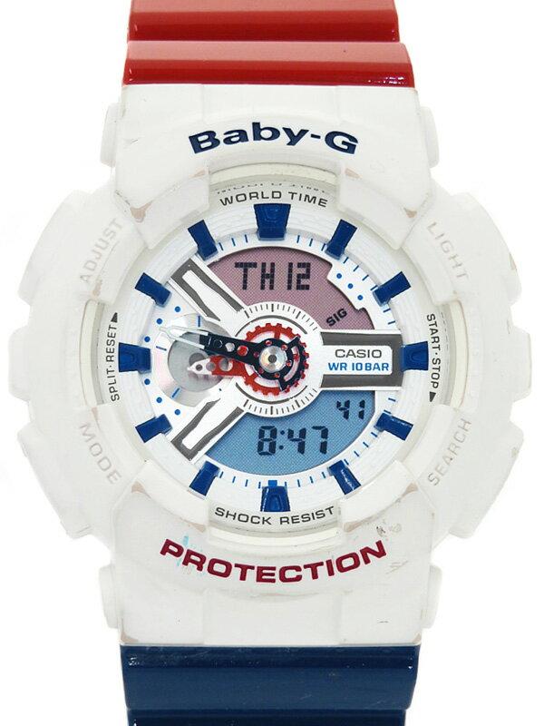 【CASIO】【Baby-G】カシオ『ベビーG  ホワイトトリコロールシリーズ』BA-110TR-7AJF レディース クォーツ 1週間保証【中古】