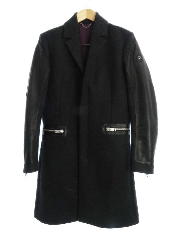 【DIESEL】【アウター】【Italian Fabric】ディーゼル『レザー切替コート sizeS』メンズ 1週間保証【中古】