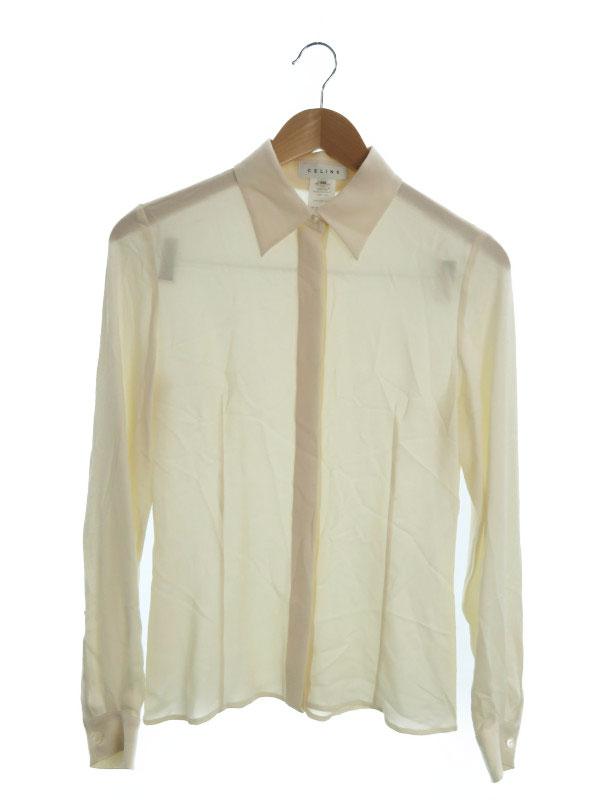 【CELINE】【フランス製】【トップス】セリーヌ『長袖シルクシャツ size36』レディース ブラウス 1週間保証【中古】