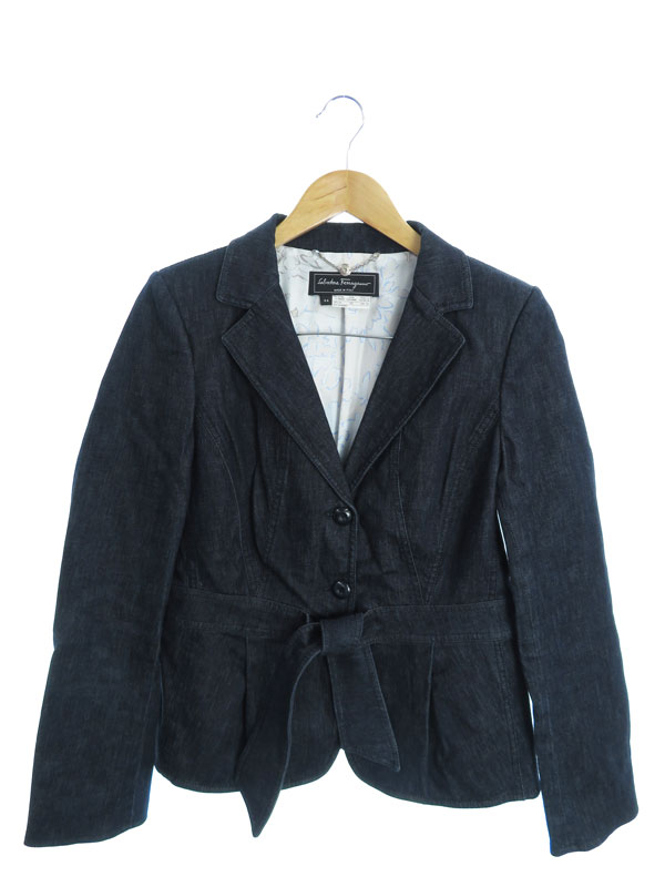 【Salvatore Ferragamo】【イタリア製】【上下セット】フェラガモ『デニム スカートスーツ size上44 下40』レディース セットアップ 1週間保証【中古】