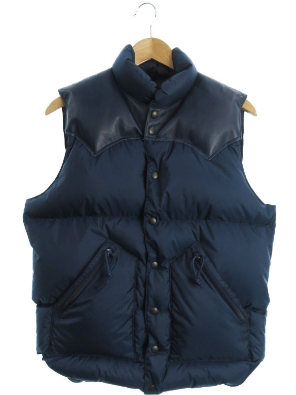 【Rocky Mountain Featherbed】【BEAMS】【BRIEFING】【17AW】ロッキーマウンテンフェザーベッド『レザー切替ダウンベスト size40』290-172-01 メンズ【中古】