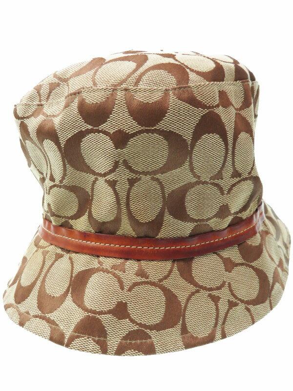 【COACH】コーチ『シグネチャー柄 ハット size M/L』レディース 帽子 1週間保証【中古】