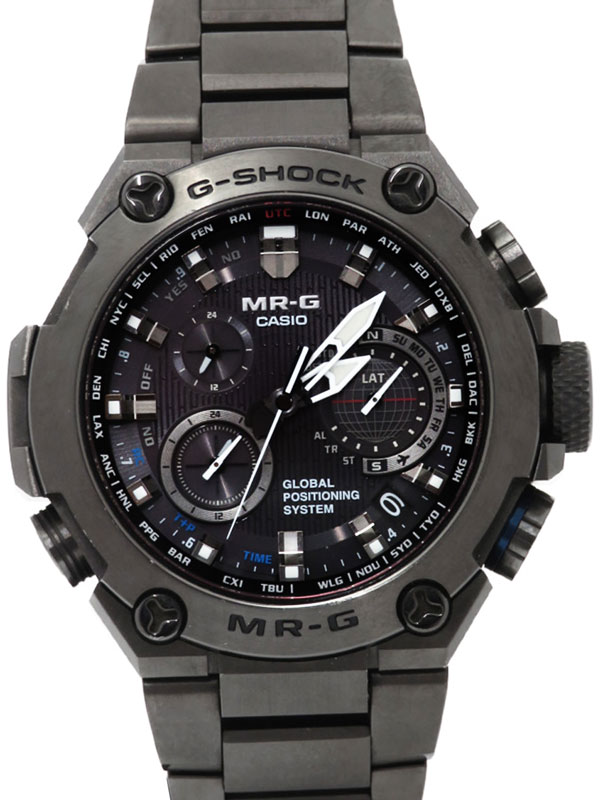 【CASIO】【G-SHOCK】【GPSハイブリッド電波ソーラー】カシオ『Gショック MR-G』MRG-G1000B-1AJR メンズ ソーラー電波GPS 3ヶ月保証【中古】