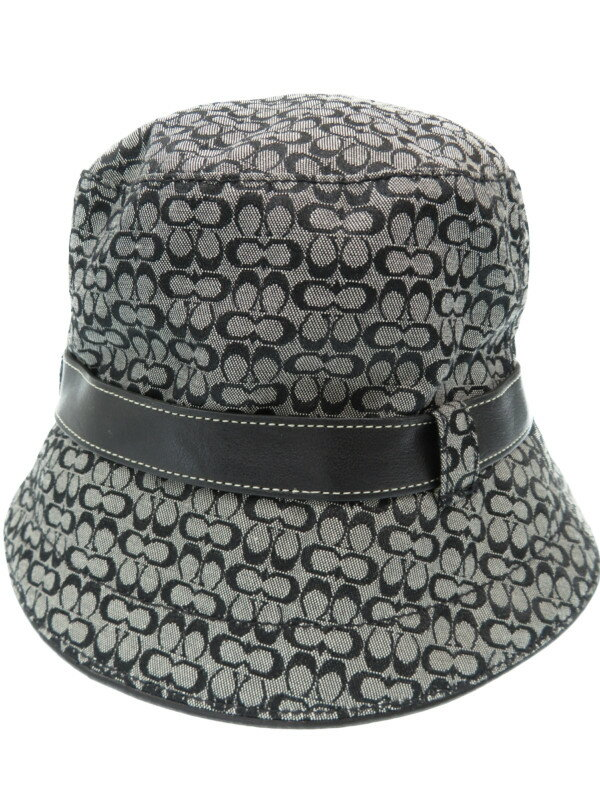 【COACH】【帽子】コーチ『シグネチャー柄ハット sizeM/L』レディース 帽子 1週間保証【中古】