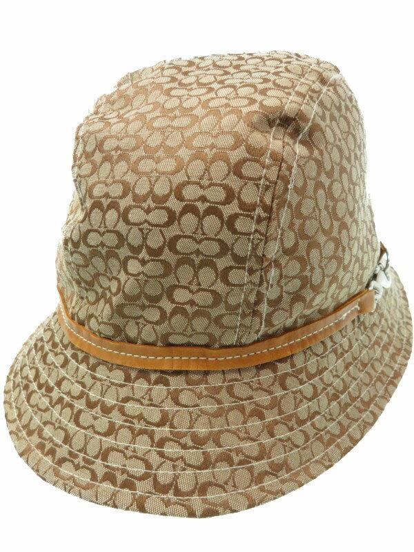 【COACH】【総柄】【帽子】コーチ『シグネチャー柄ハット sizeM/L』レディース 帽子 1週間保証【中古】