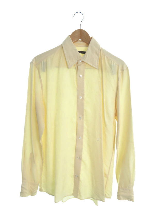 【LOUIS VUITTON】【イタリア製】【トップス】ルイヴィトン『シルク長袖シャツ size38』メンズ 1週間保証【中古】
