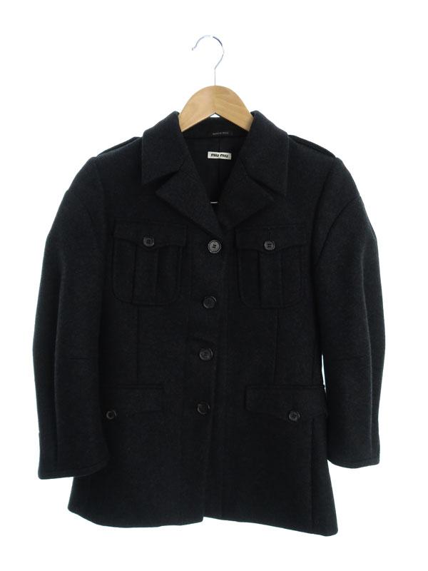 【miumiu】【イタリア製】【アウター】ミュウミュウ『七分袖コート size40』2006年 レディース 1週間保証【中古】