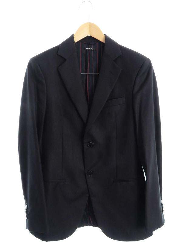 【Giorgio Armani】【イタリア製】【上下セット】ジョルジオアルマーニ『ストライプ柄 2パンツスーツ size44』メンズ セットアップ 1週間保証【中古】