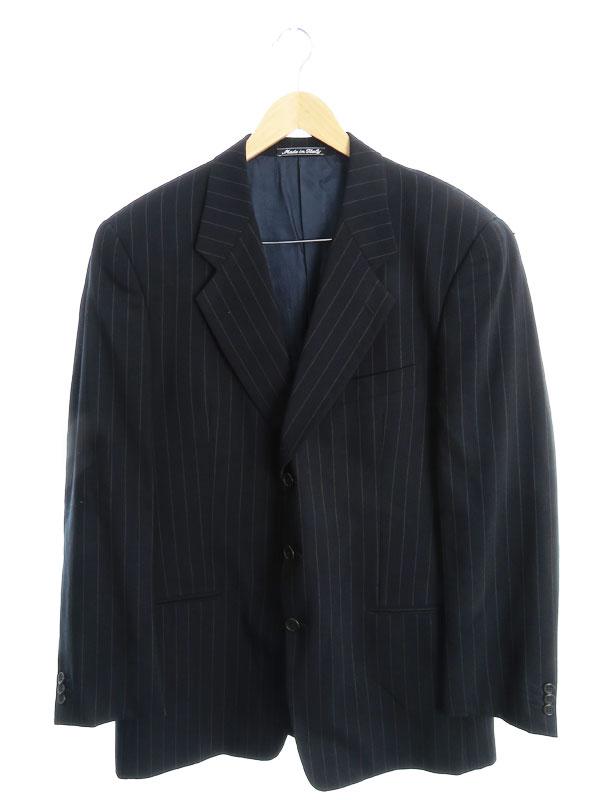 【Giorgio Armani】【イタリア製】【上下セット】ジョルジオアルマーニ『ストライプ柄 パンツスーツ size52R』メンズ セットアップ 1週間保証【中古】