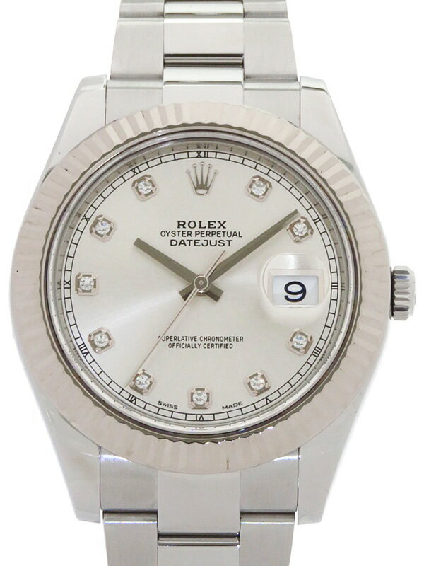 【ROLEX】【'16年購入】【仕上済】ロレックス『デイトジャスト2 10Pダイヤ』116334G ランダム番 メンズ 自動巻き 12ヶ月保証【中古】